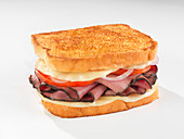 Toasted roast beef sandwich