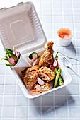 Baked-not-fried chicken with garlic Sriracha yoghurt