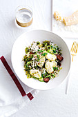 Ricotta gnocchi with brussel sprouts, bacon and almonds