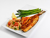 Fish with asparagus and couscous
