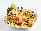 Saffron rice with seafood