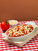 Baked ziti with tomatoes and cheese