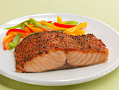 Spicy mesquite salmon fillet with pepper strips