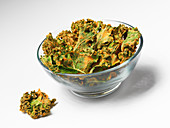 Kale chips in a glass bowl