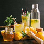 Lemonade with honey and herbs