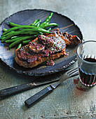 Steak with red wine and shallot butter
