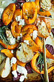 Roast vegetables with pears, feta and sage