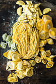 Several homemade pasta varieties