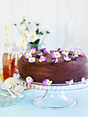 A chocolate cake decorated with horned violet flowers