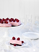 Raspberry mousse cake with a brownie base