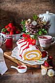 Erdbeerroulade mit Buttercreme