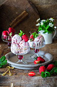 Strawberry ice cream with sponge pieces