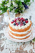 Sponge coconut cake with mascarpone cream