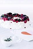 Pavlova mit frischen Beeren auf Kuchenständer
