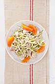 Rabbit meat salad with puntarelle and orange fillets