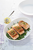 Salmon on green beans with gremolata