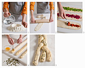 A plaited bread wreath with a trio of fillings being made