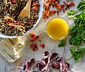 A lentil salad with various ingredients