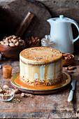 Kürbis-Karamell-Kuchen mit Mandeln