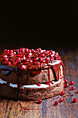 Chocolate sponge with pomegranate ganache