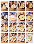 Glutenfreie Kartoffel-Lauch-Galette mit Creme Fraiche zubereiten