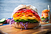 A rainbow vegetable sandwich