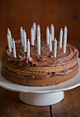 Birthday chocolate cake with candles