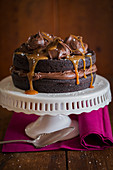 Dark Chocolate Cake with Chocolate Caramel Frosting and Seasalt