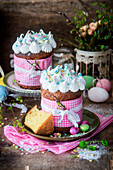Kulich (Easter cake with meringue, Russia)