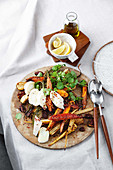 One-tray warm roast vegetable salad