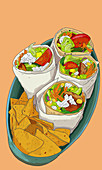 Burritos with nachos (illustration)