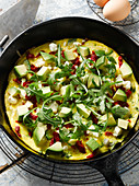 Frittata with avocado and rocket