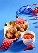 Carnival meatballs on small sticks