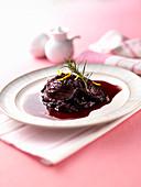 Gekochte Abalone mit Weinsauce