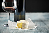 Soft cheese and red wine