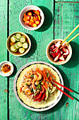 Japanese pasta salad with shrimps and pickles