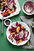 Red orange beetroot and cicory salad