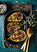 Miso glazed eggplant grilled with asian shallots and sesame seeds