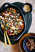 Rainbow chard and chickpea side salad with toasted cumin, coriander seeds and sweet paprika