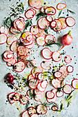 Deconstructed pink raddish salad