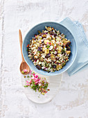 Barley wild rice salad with aubergines, feta cheese and dill