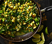 Stir fried vegetables with green beans, corn and zucchini
