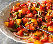 Tomato salad with peppers, olives and red onions (close-up)