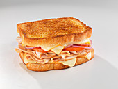 A toasted sandwich with turkey breast, cheese and tomato