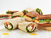 Various wraps and sandwiches