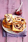 Cake with fruit jam