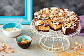Coconut cheesecakewith walnuts and choco eggs