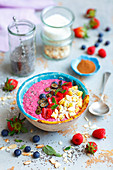 Berries and beetroot smoothie with chia and fruits