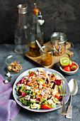 Salad with feta, kiwi and strawberries