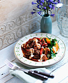 Beef Goulash with creme fraiche, mushrooms, red pepper and butternut squash